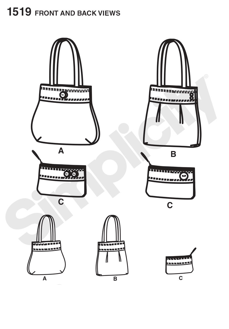 Simplicity 1519 Bags and Clutch sewing pattern