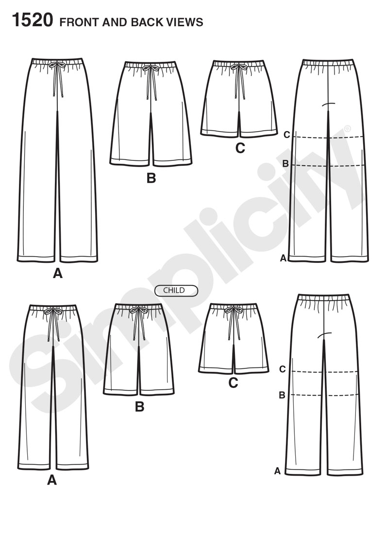 Simplicity 1520 Child's, Teens' and Adults' Pants and Shorts