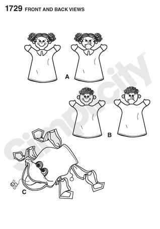 Simplicity 1729 Hand Puppets