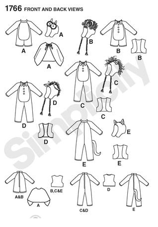 Simplicity 1766 Toddler's Animal Costumes and Hats