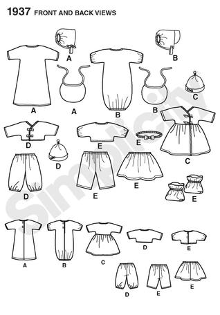 Simplicity 1937 Doll Clothes