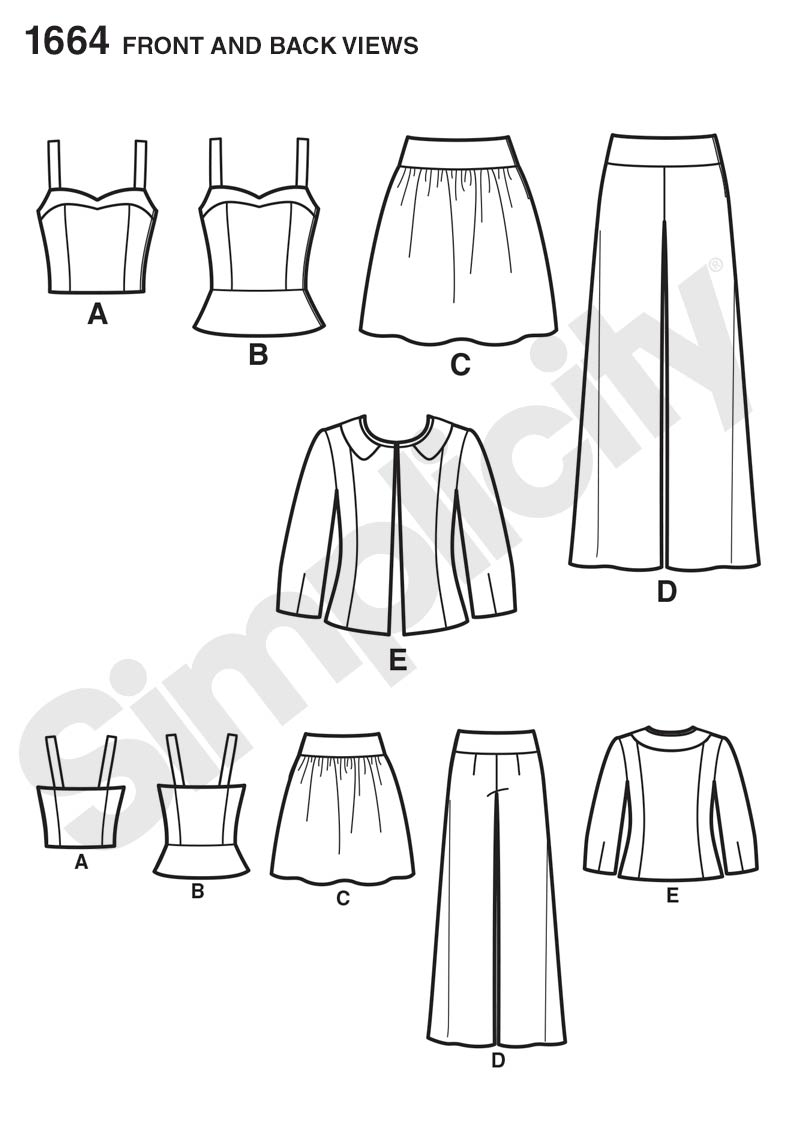 Simplicity 1664- Misses Tops, Skirt, Pants, and Jacket