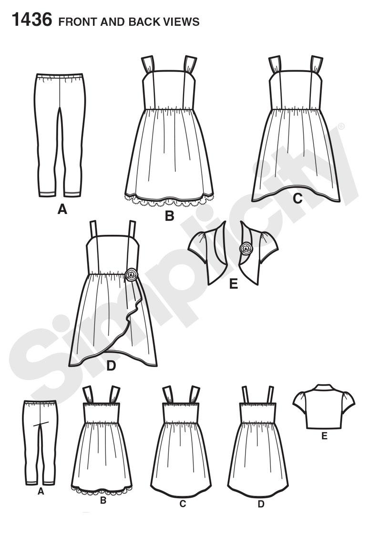 Simplicity 1436 Child's & Girls' Dress, Bolero & Knit Leggings