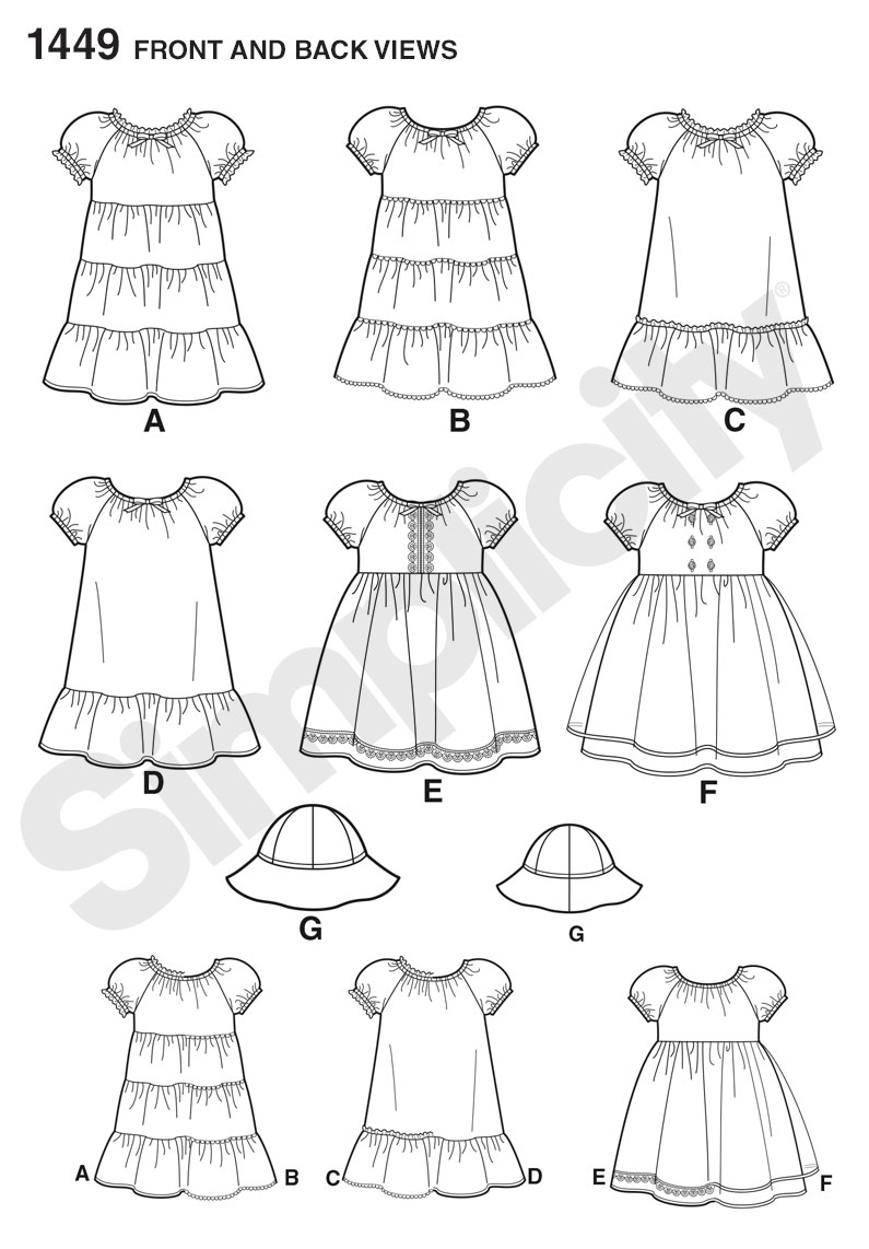 Simplicity 1449 Toddlers' Dress and Hat in Three Sizes