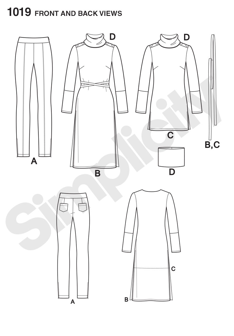 Simplicity 1019- Misses' Knit Tunic and Pintuck Pants from