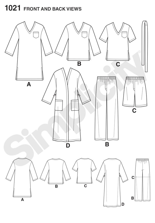 Simplicity 1021 Men's Pyjamas sewing pattern