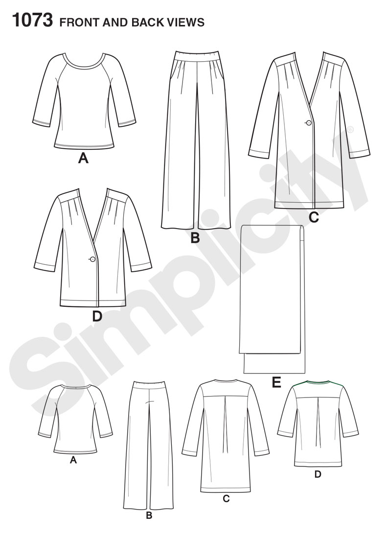 Simplicity 1073 Misses' Pants, Coat or Jacket, Scarf and