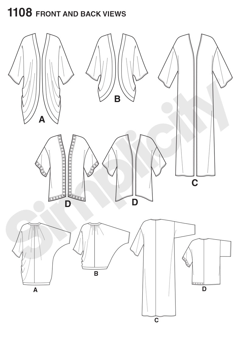 Simplicity 1108 Misses' Kimono's in Different Styles