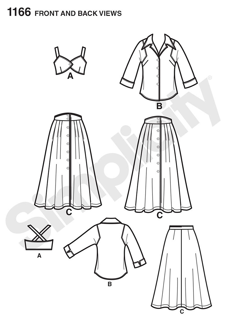 Simplicity 1166 Misses' Vintage Blouse, Skirt and Bra Top