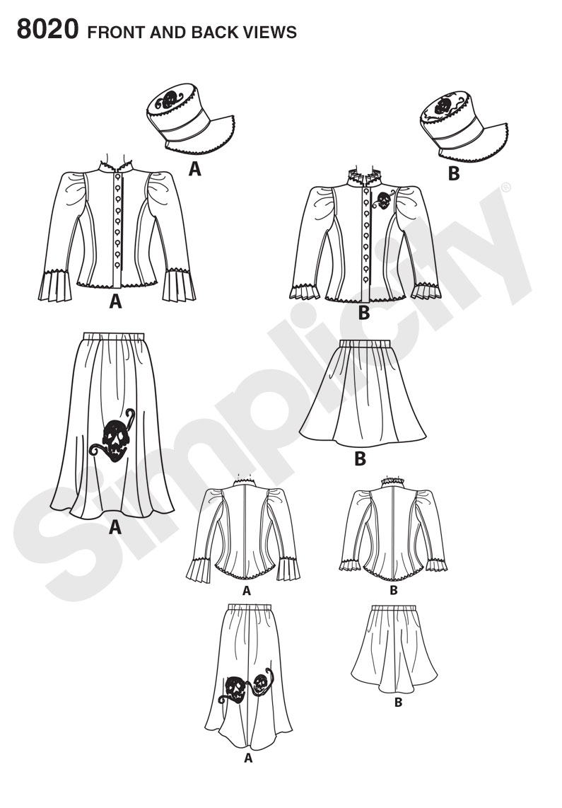Simplicity 8020 Misses' Blouse, Hat and Knit Skirts