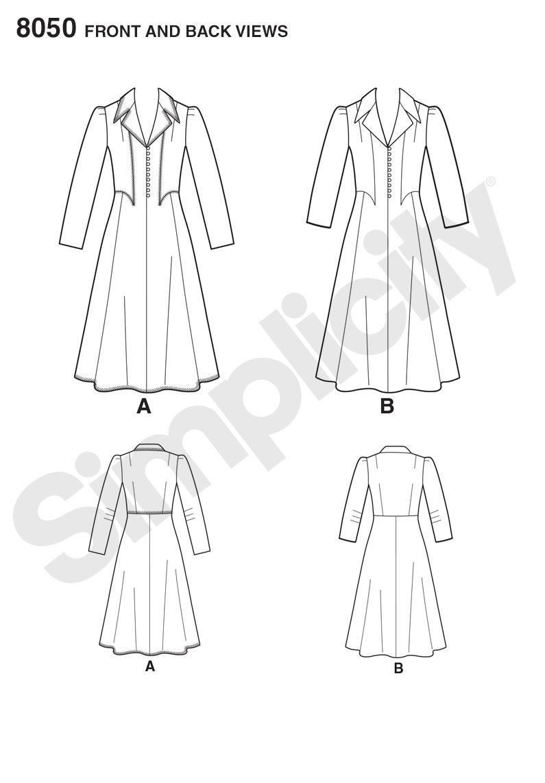 Simplicity 8050 Vintage 1940's Dress Pattern sewing pattern