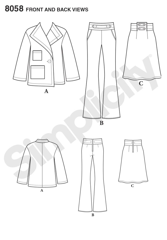 Simplicity 8058 Misses' Suit Separates, Cynthia Rowley