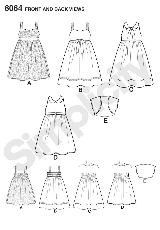 Simplicity 8064 Child's and Girls' Dresses and Bolero