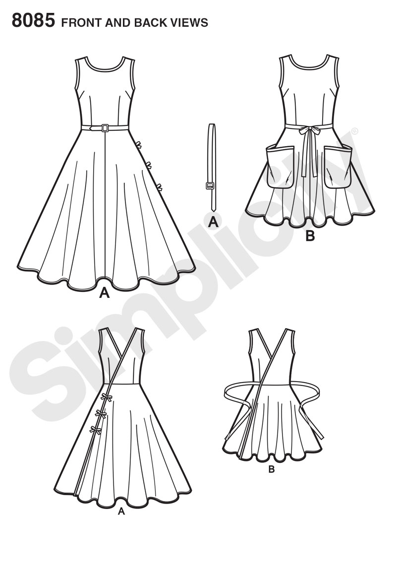 Simplicity 8085 Misses' Vintage 1950's Wrap Dress in Two