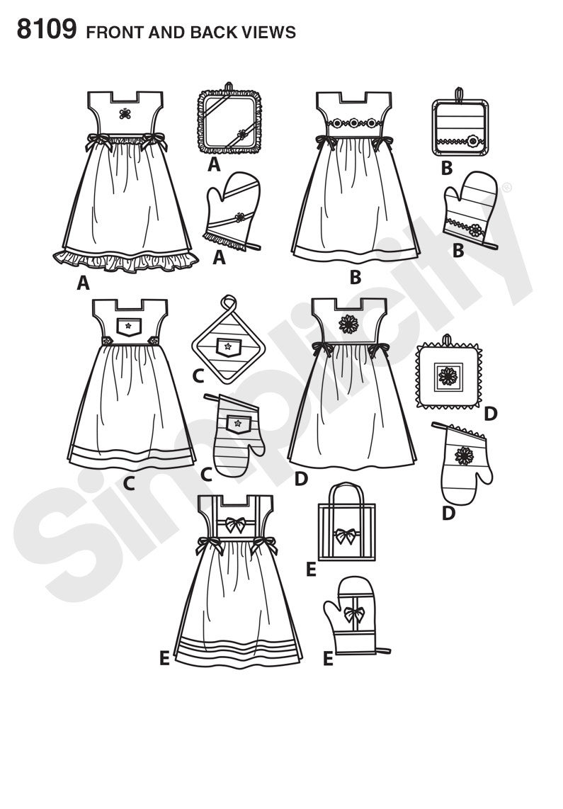 Simplicity 8109- Towel Dresses, Pot Holders and Oven Mitts