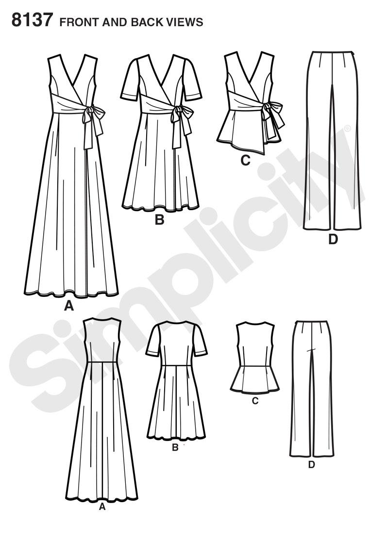 Plus Size Wrap Dress Pattern : dress, pattern, Simplicity, Pattern, Misses', Dresses,, Pants