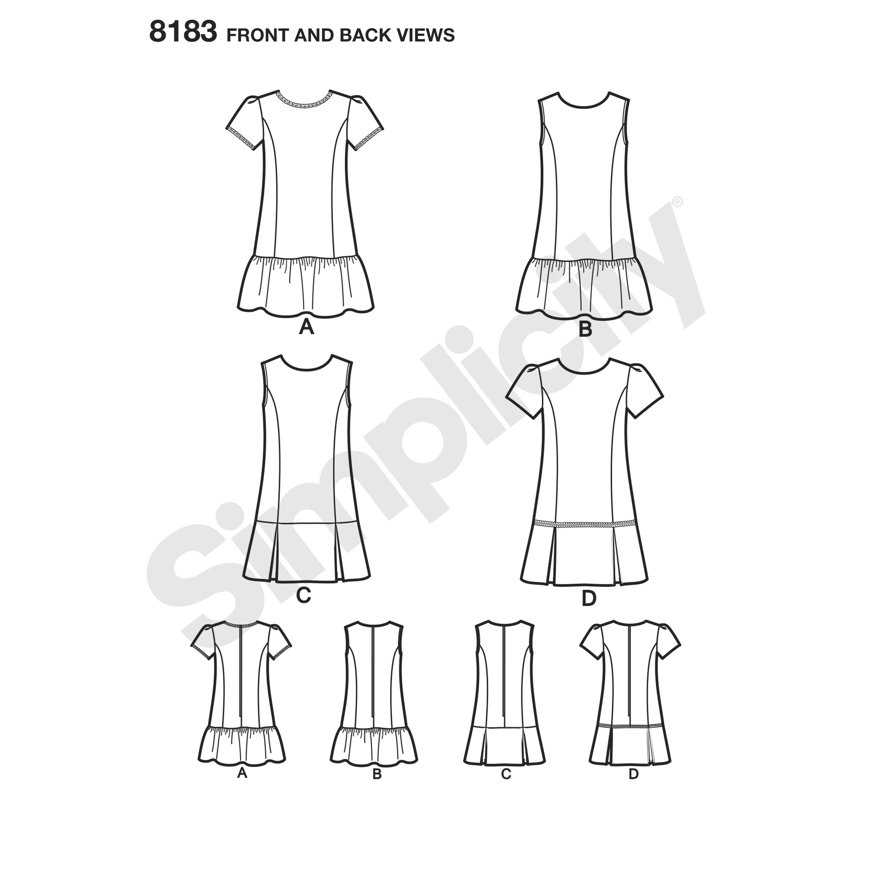 Simplicity 8183 Child's and Girls' Dress or Jumper