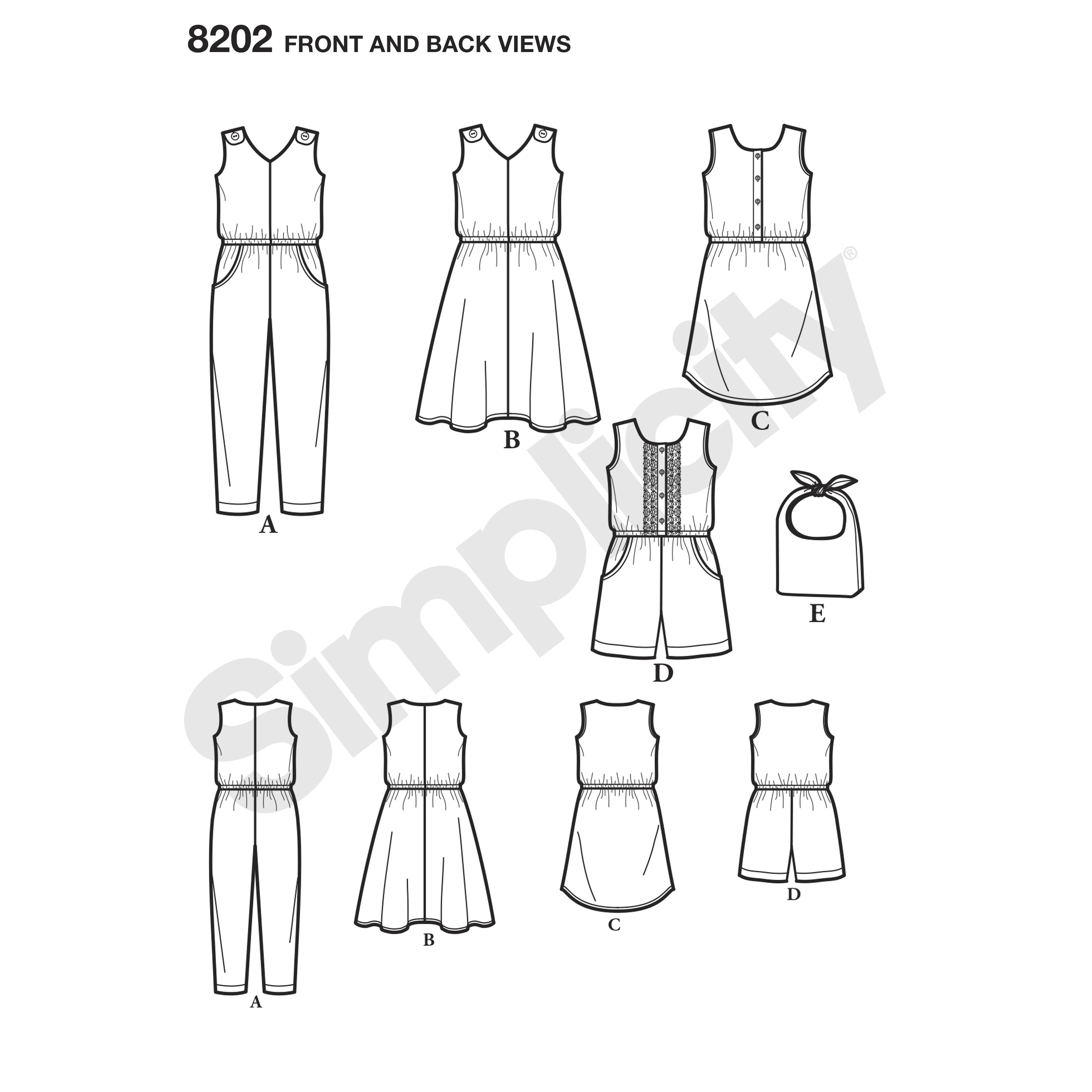 Simplicity 8202 Child's Jumpsuit in Two Lengths, Dresses