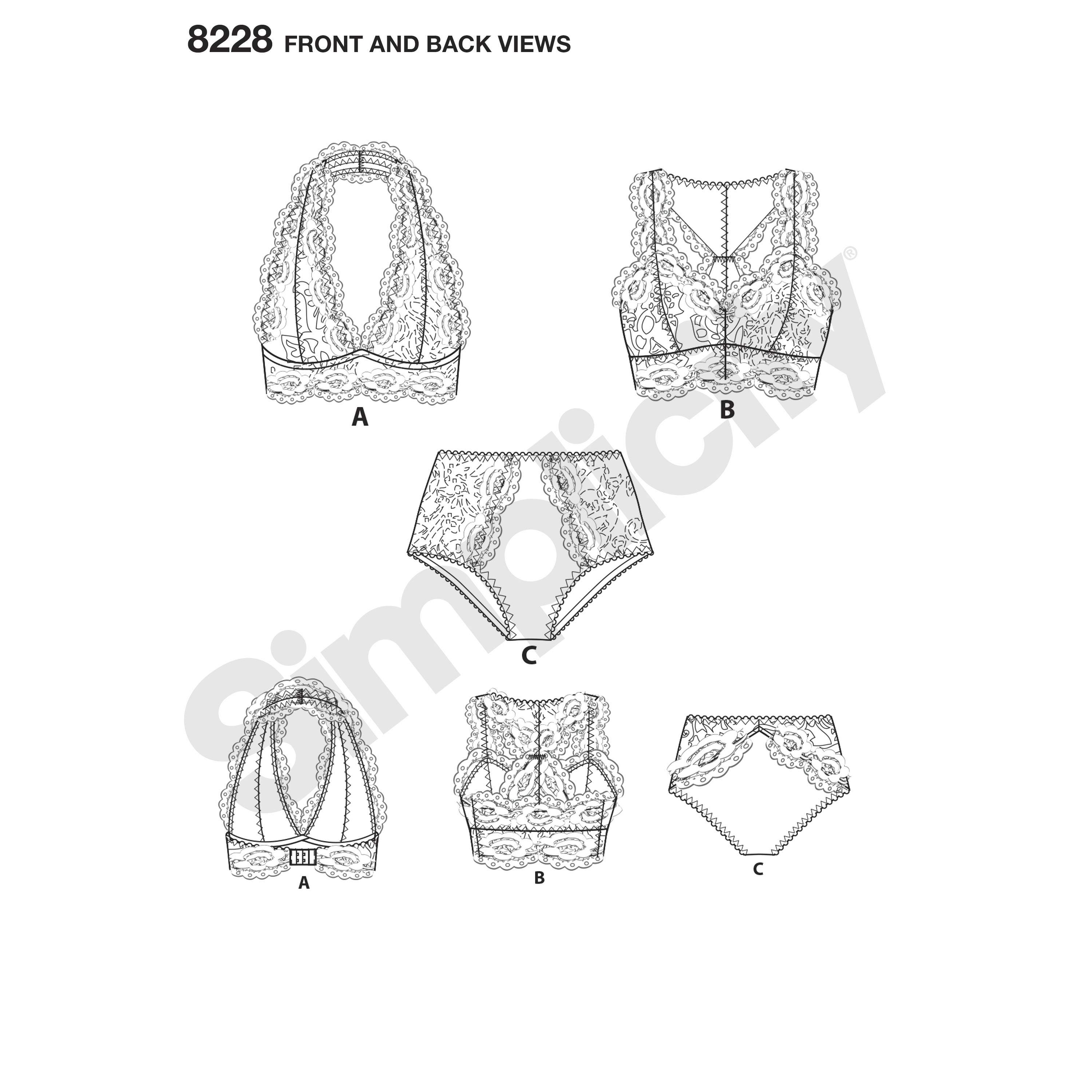 Simplicity 8228 Misses' Soft Cup Bras and Panties
