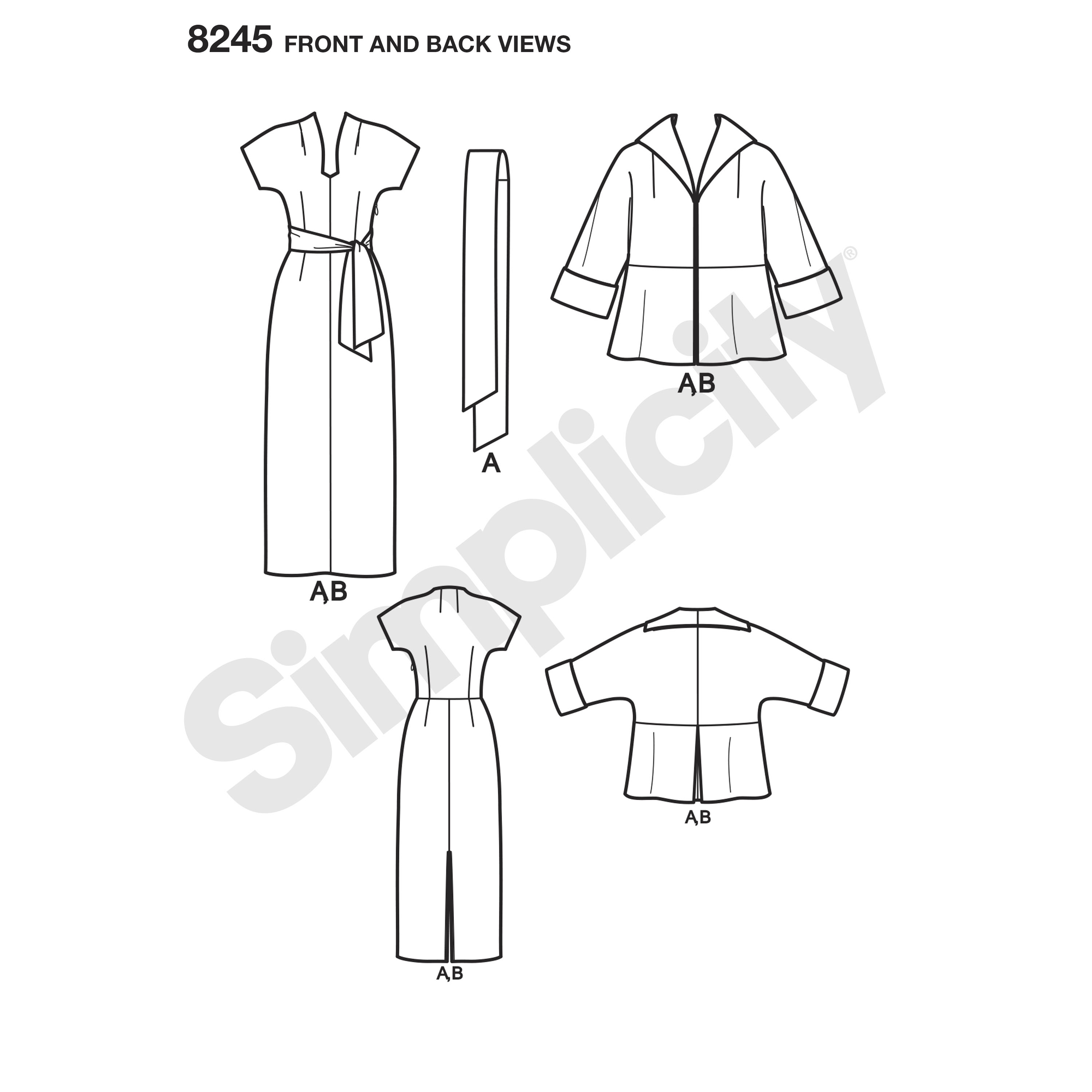 Simplicity 8245 Vintage 1950s Dress, Sash, and Lined Jacket