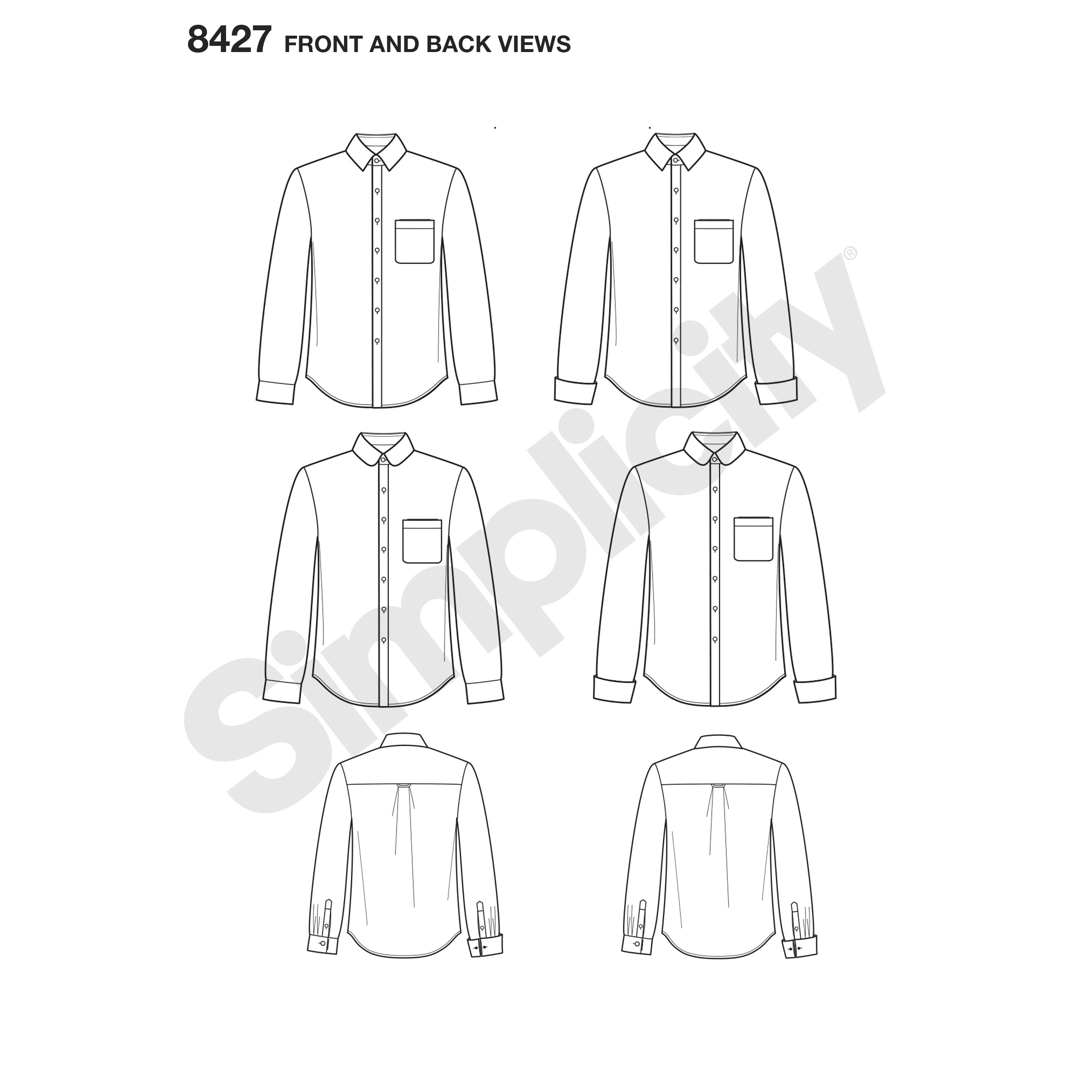 Simplicity 8427 Men's Fitted Shirt with Collar & Cuff