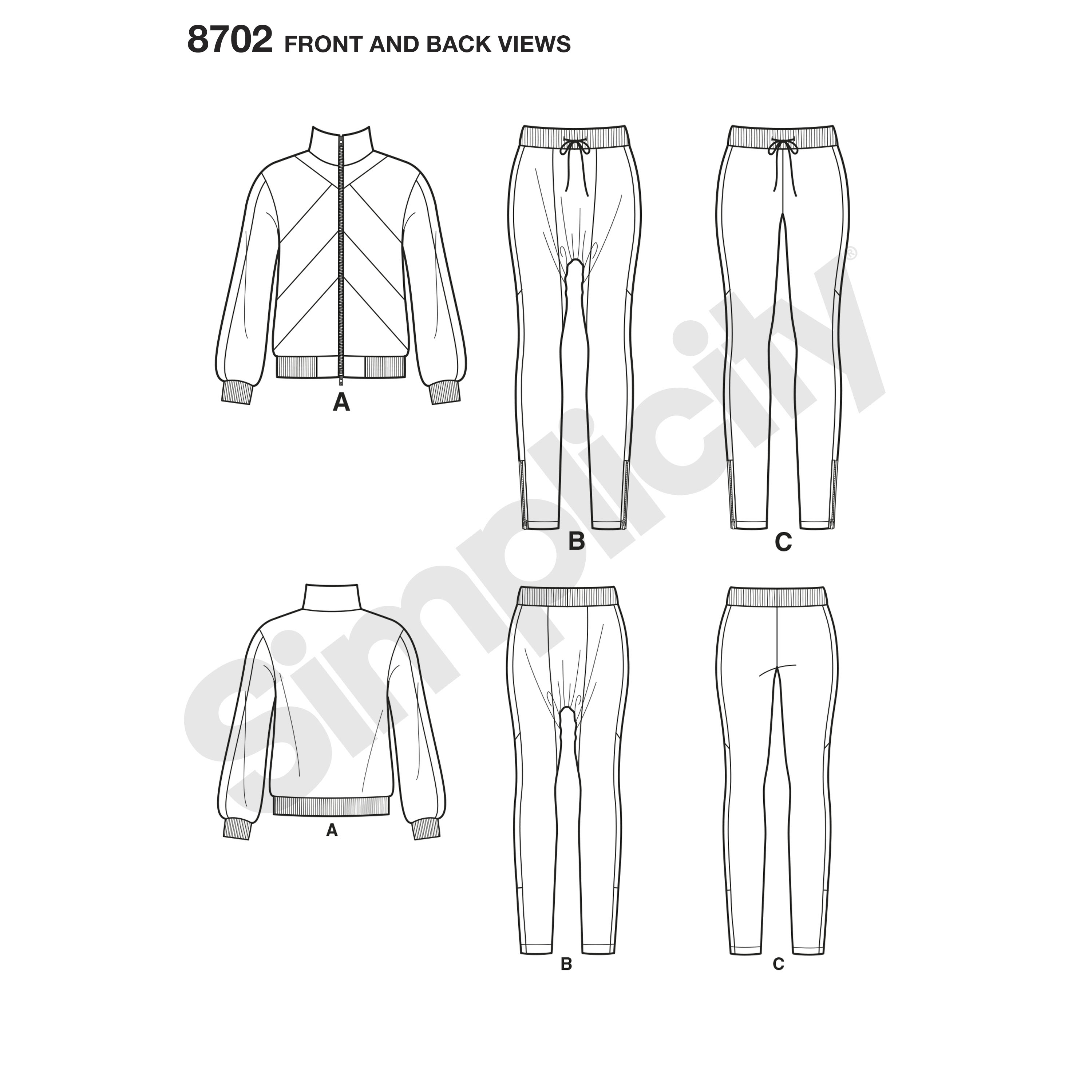 Simplicity 8702 Mimi G Misses' Knit Jacket, Pants, and