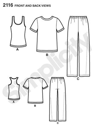 Simplicity 2116 Misses and Mens pants and knit top and