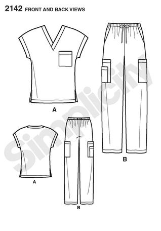 Simplicity 2142 women and men's scrub top and pants