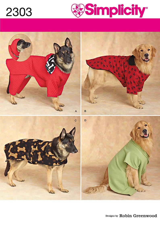 3 size DOG CLOTHING COAT COSTUME BED SEWING PATTERN 4AVL