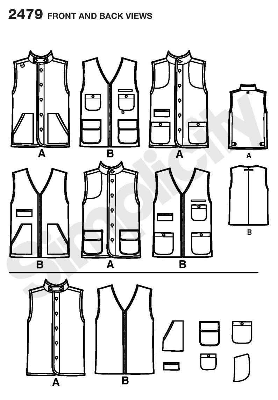 Simplicity 2479 Men and Boys Vests