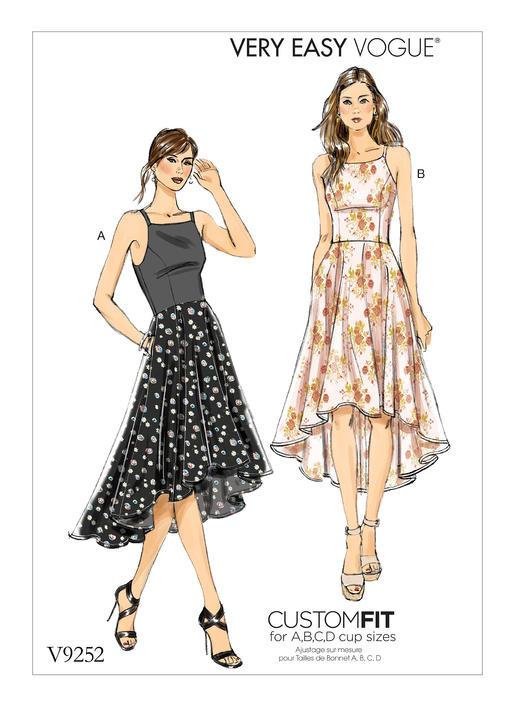 Hi Lo Dress Patterns : dress, patterns, Vogue, Patterns, MISSES', PRINCESS, HIGH-LOW, DRESSES, POCKETS
