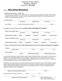 Affidavit Of Residency Form For School - Free Printable ...