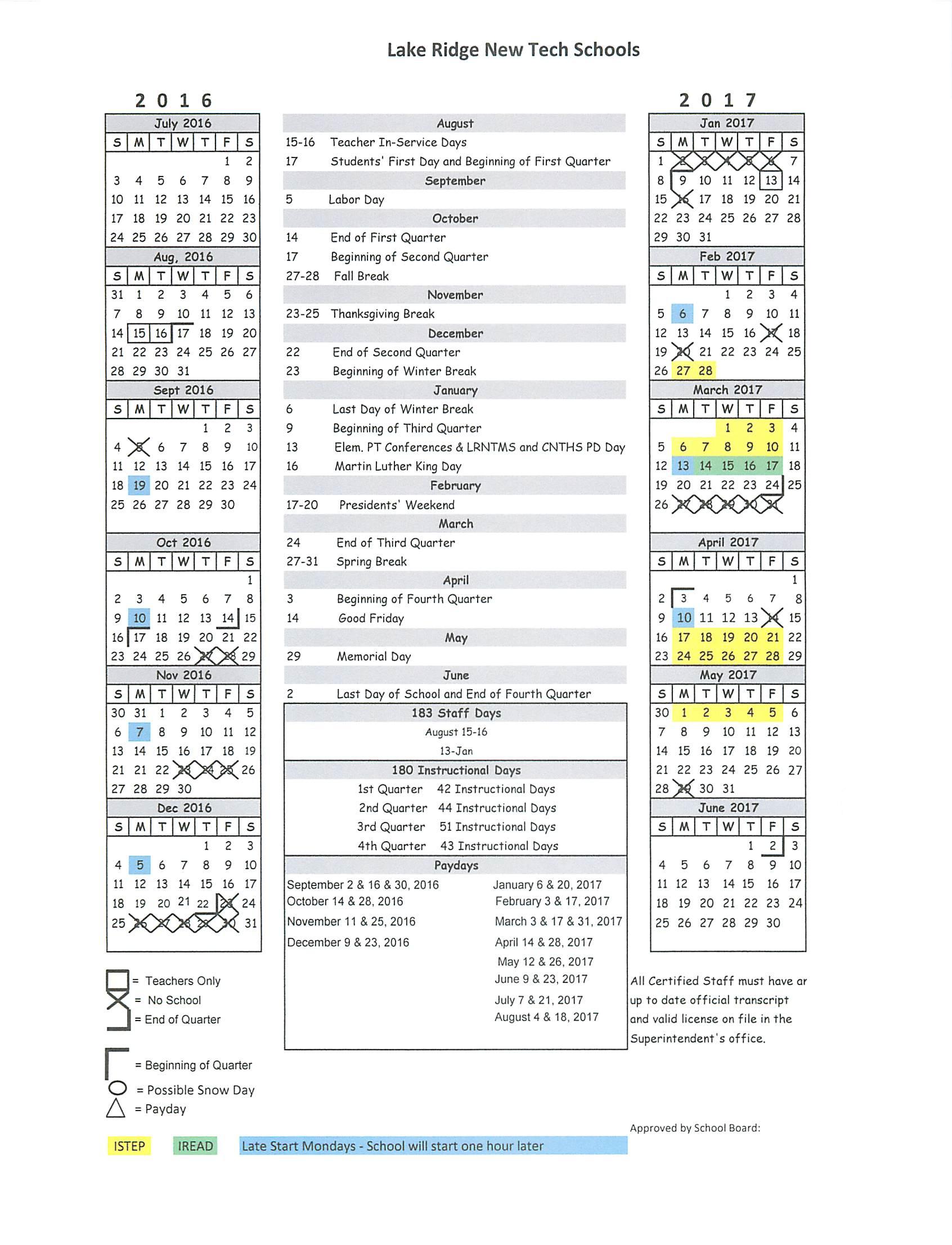 2016 2017 school calendar pcmac 2016 2017 school calendar