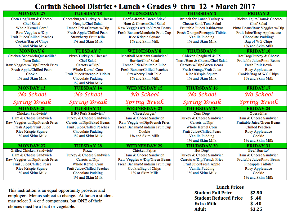 Lausd Lunch Menu 9 12