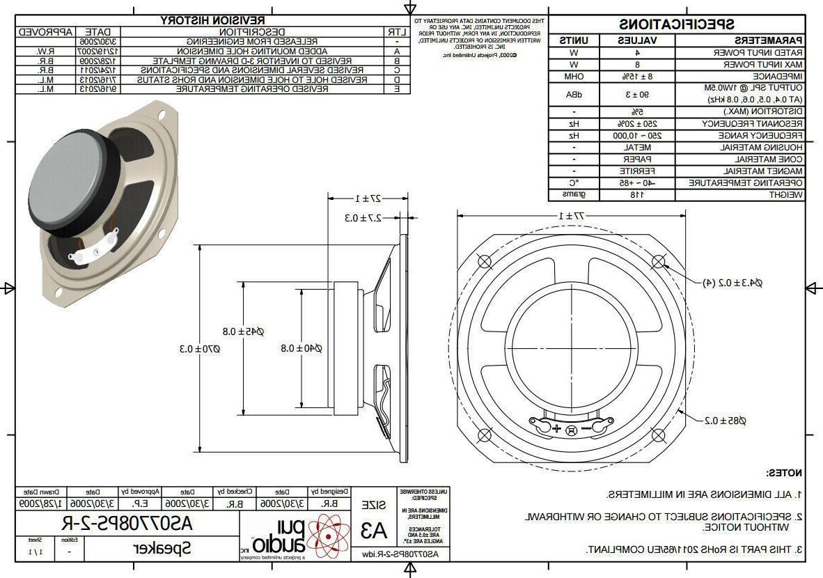 1pc. 3-inch 4-watt 8-ohm Amp Speaker by PUI