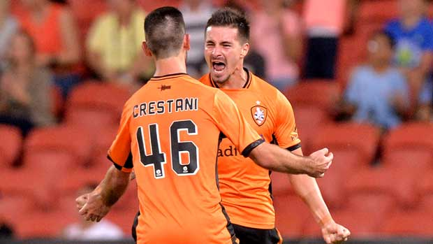 Jamie Maclaren celebrates after scoring Roar's equaliser, taking him level at the top of the golden boot standings.