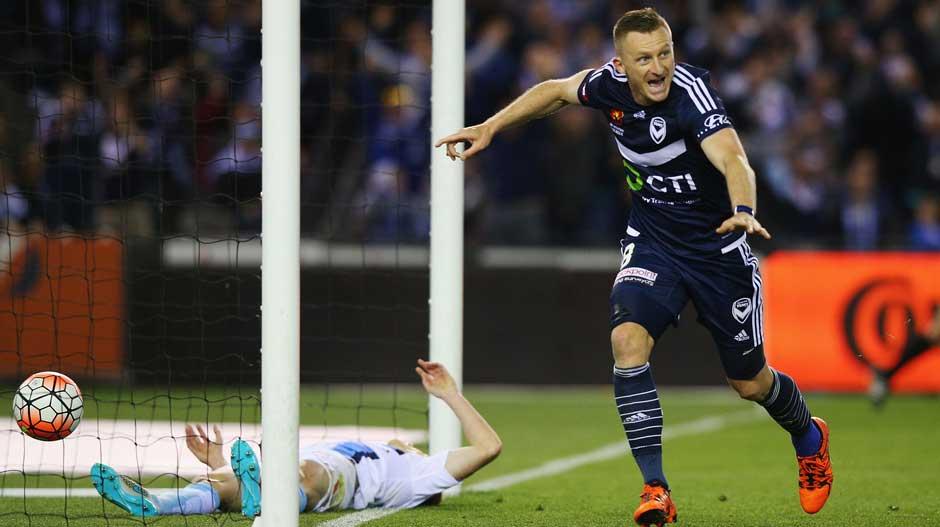 Besart Berisha celebrates a goal for Melbourne Victory.