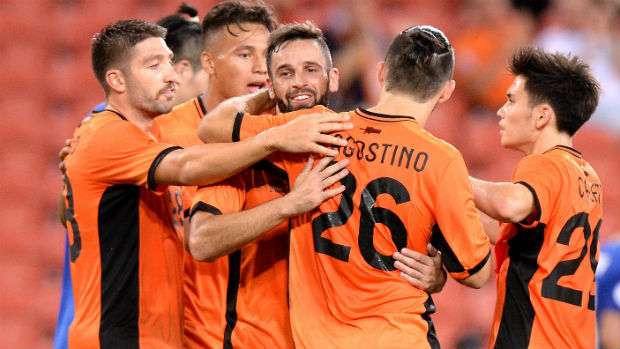 Brisbane Roar players celebrate Manuel Arana's goal against Global FC in their ACL qualifier.