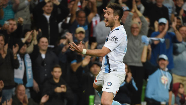 Bruno Fornaroli celebrates one of his two goals against Glory in last season's Finals Series.