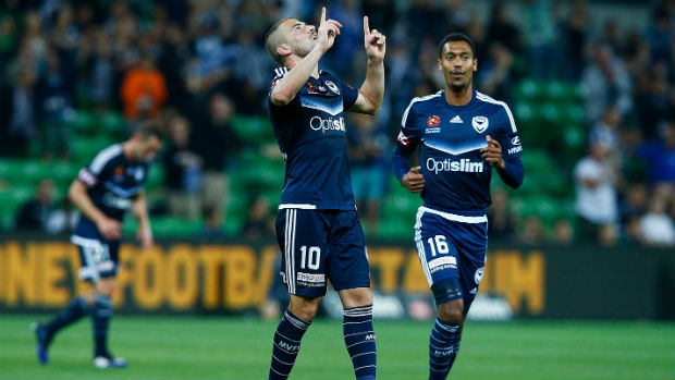 James Troisi celebrates scoring Victory's fourth goal against Perth on Saturday night.