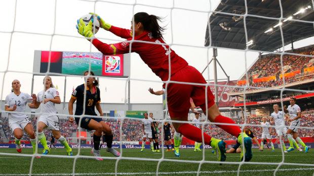 USA goalkeeper Hope Solo makes a save against the Matildas.