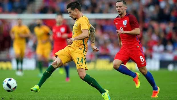 Jamie Maclaren in action against England.