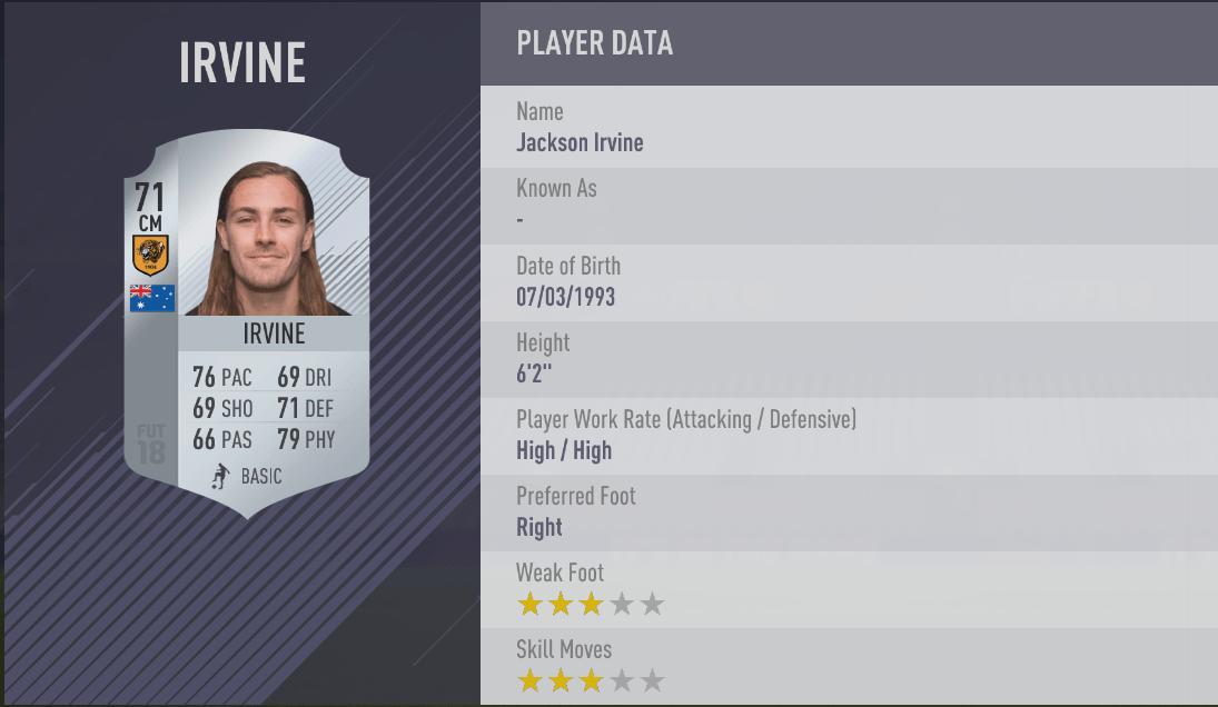 Jackson Irvine - FIFA 18