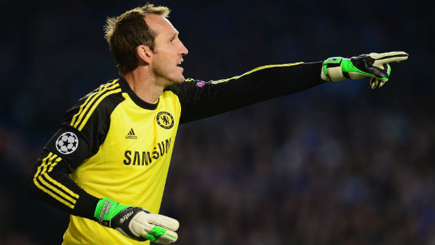 Mark Schwarzer in goals for during during last season's UEFA Champions League semi-final against Atletico Madrid.