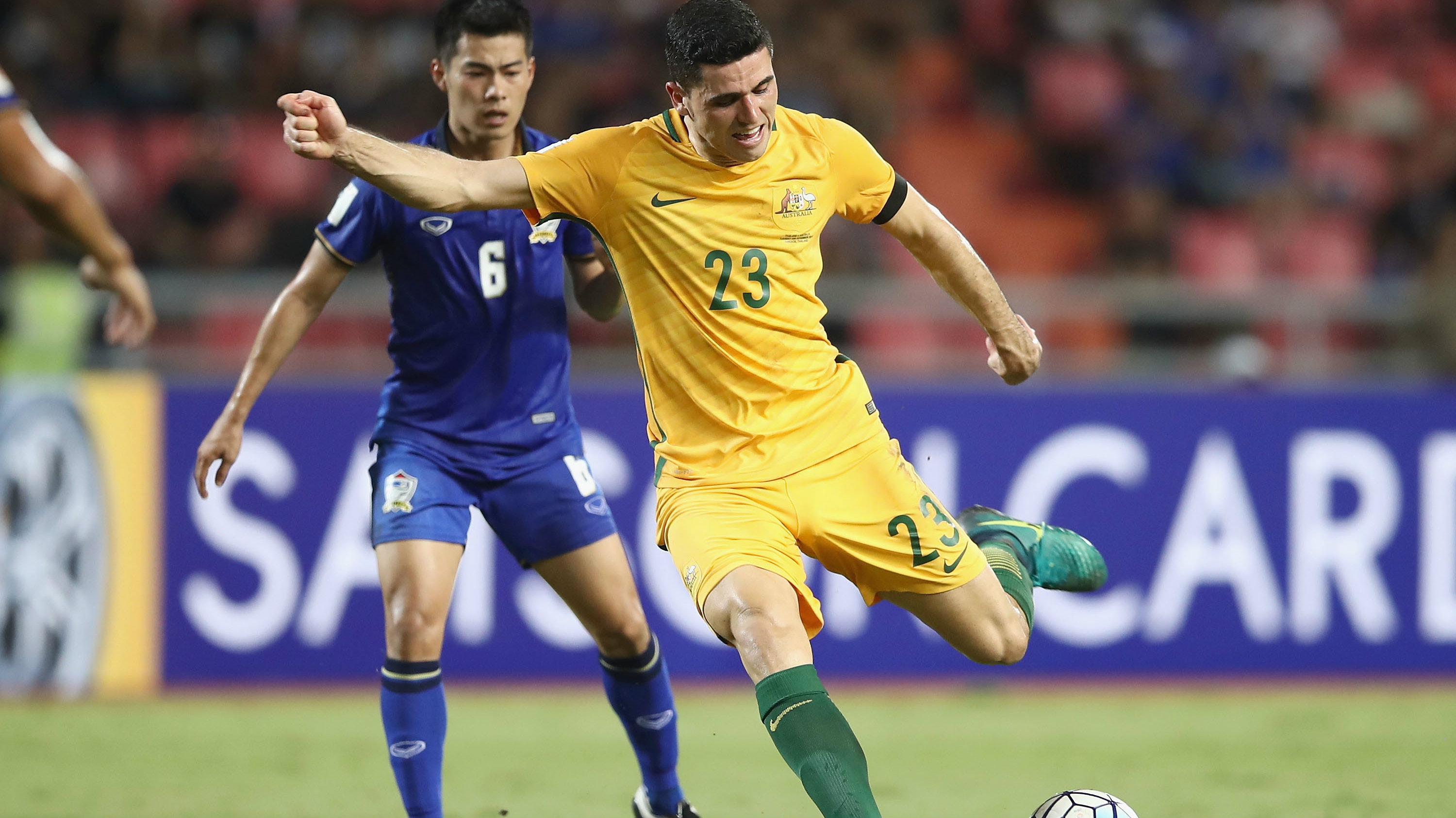 Caltex Socceroos star Tom Rogic on the ball during Australia's 2-2 draw with Thailand in November.