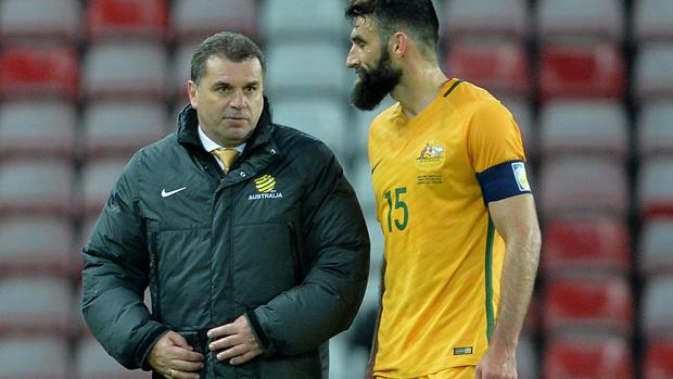Caltex Socceroos boss Ange Postecoglou with skipper Mile Jedinak.