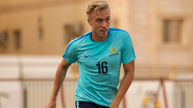 James Jeggo on the ball during a Socceroos training session in Saudi Arabia.
