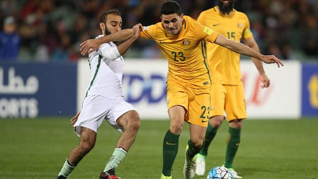 Tom Rogic on the ball during Australia's 3-2 win over Saudi Arabia.
