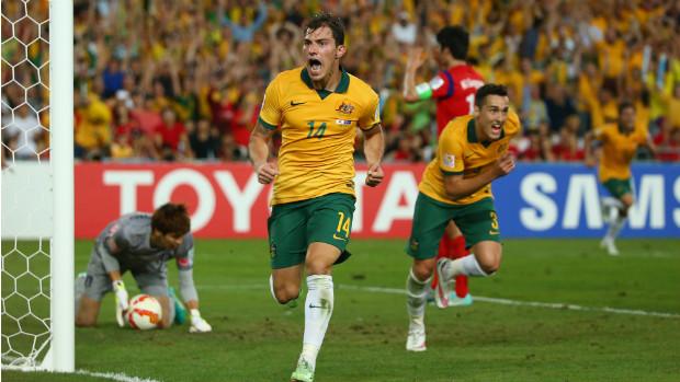 Socceroos midfielder James Troisi celebrates his extra-time winner against Korea Republic.