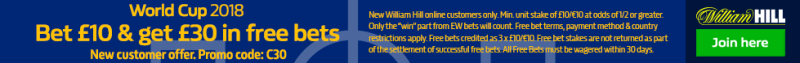 William Hill new World Cup offer footer